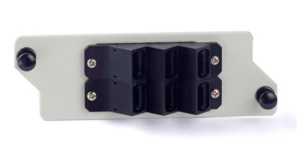 Angled stackable MPO adapter for panel tablet