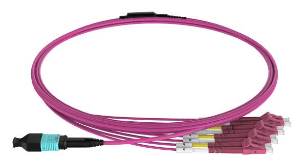 MPO to LC duplex breakout cable