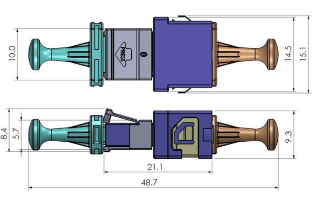 MPO to MT adapter drawing