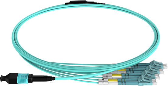 MPO to LC duplex breakout patch cord